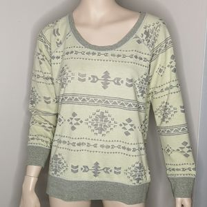 Maurices Aztec Textured Long Sleeve Pullover Top